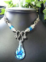 blue lampwork wire necklace by BacktoEarthCreations