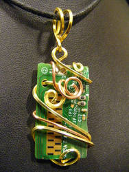 simple circuit brass and copper pendant by BacktoEarthCreations