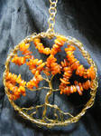 amber and brass tree