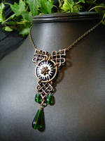 articulated gears celtic necklace green and copper by BacktoEarthCreations