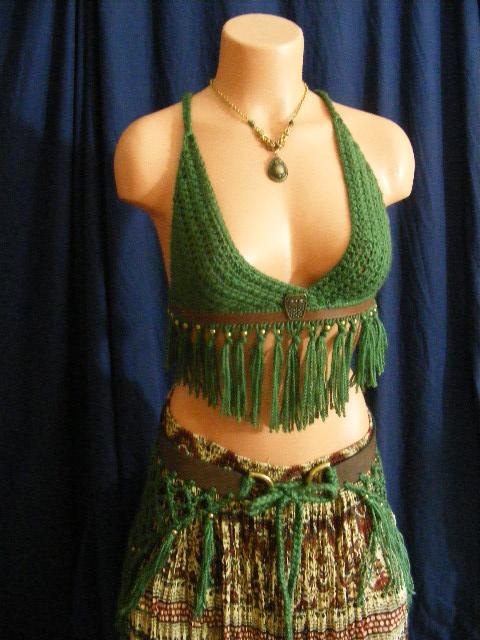 green owl fringe set by BacktoEarthCreations