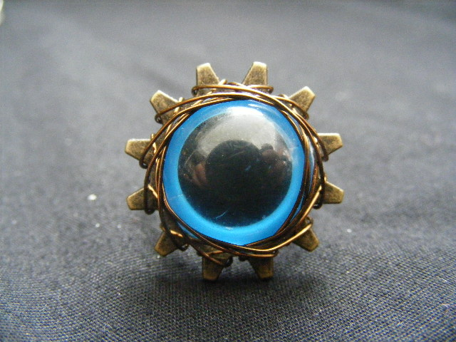 blue eye on gear ring by BacktoEarthCreations