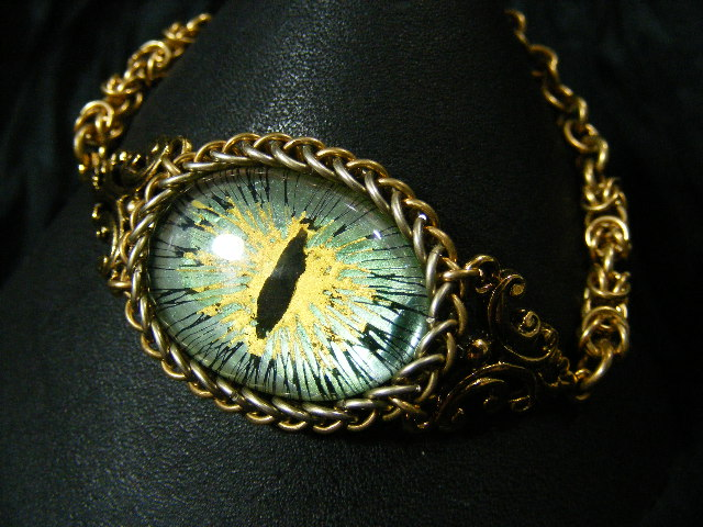 Green.yellow Ice Eye In Brass And German Silver by BacktoEarthCreations
