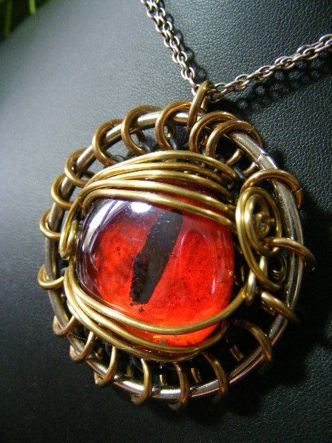 eye pendant on red by silver necklace wire dragon art ladypirotessa brooch