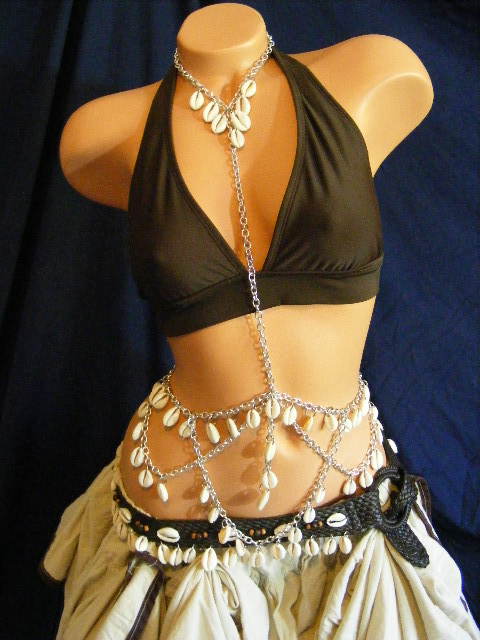 Cowrie Body Chain and Belt with Sand Skirt by BacktoEarthCreations
