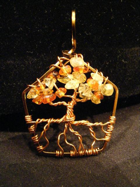 Autumn Leaves Pentagon Tree Pendant by BacktoEarthCreations