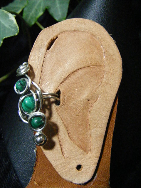 Malachite In Silver Ear Cuff by BacktoEarthCreations