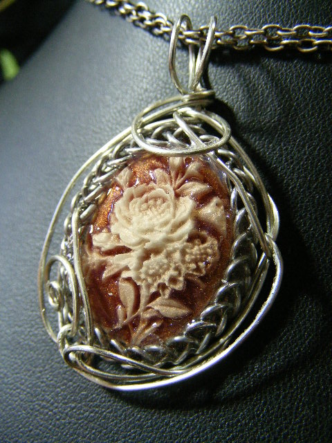 Dusty rose wire wrapped cameo pendant by BacktoEarthCreations