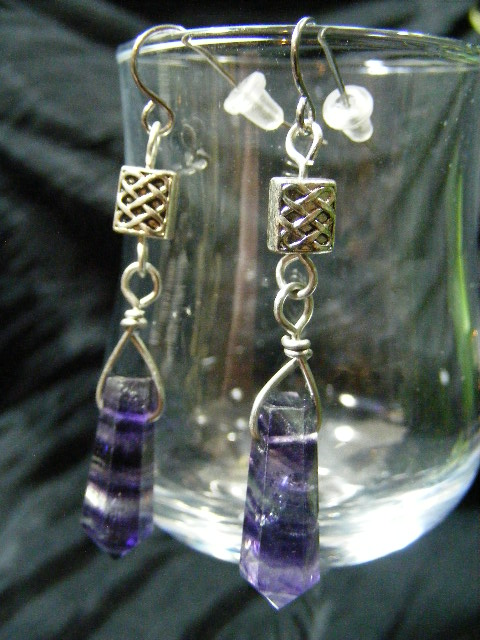 Celtic Flourite Point Earrings by BacktoEarthCreations
