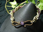 Spiral Bangle Bracelet With Purple Beads