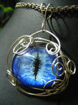 Blue Eye Wire Wrapped Pendant