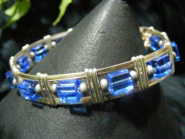 Blue Wire Wrapped Bangle by BacktoEarthCreations