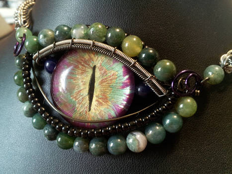 Unique Eye with moss agate necklace
