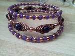 Purple and copper herringbone layer bracelet