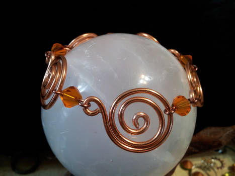 Copper Spirals With Orange Beads