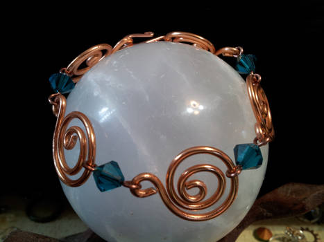 Copper Spiral Bracelet With Midnight Blue Beads