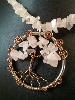 Rose Quartz And Antique Copper On Silver Tree