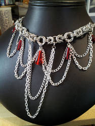 Mozantine Drop Necklace Red Drops With Chain Drape