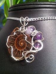 Ammonite And Amethyst In Silver by BacktoEarthCreations