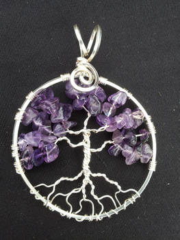 Amethyst Round Tree In Silver