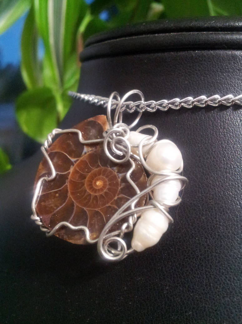 Ammonite And Pearls In Silver by BacktoEarthCreations