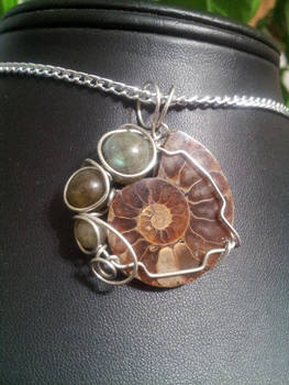 Ammonite And Labradorite In Silver