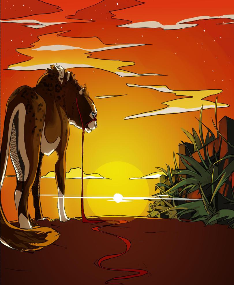 Red Sky at Night by BlueEyes-BlackFur