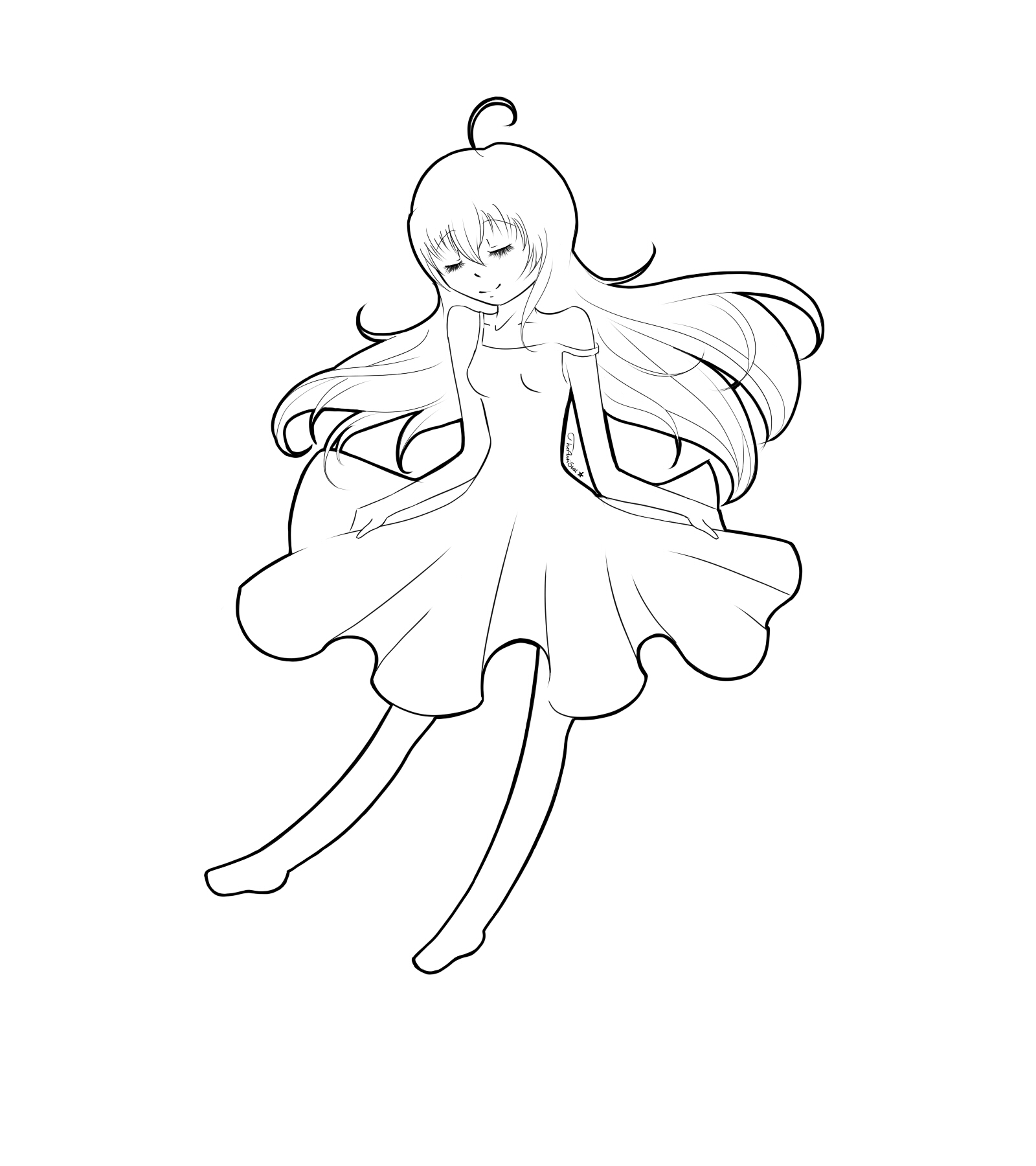 White dress drawing -  Girl Wearing A White Dress By Theantistar