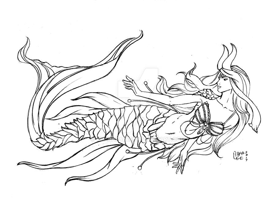 Line Art Mermaid : Mermaid line art commission by therafalee on deviantart