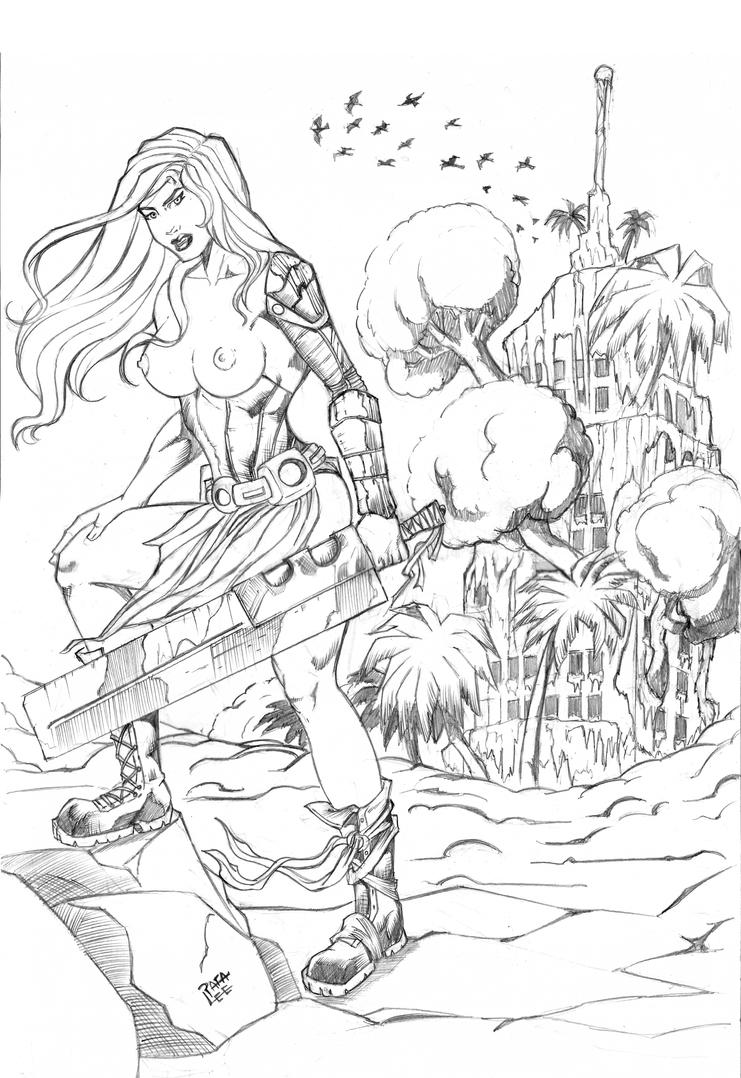 Post apocalyptic Warrior pencil by TheRafaLee
