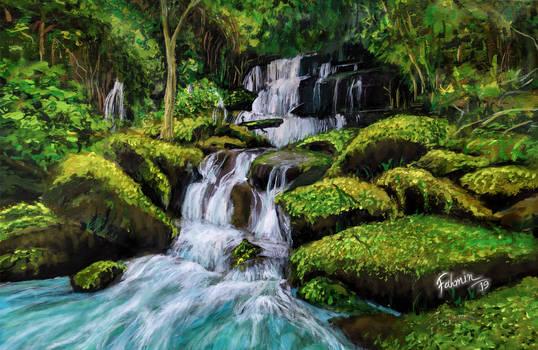 Waterfall Acrylic Painting