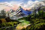 Fantasy Mountain Acrylic Painting