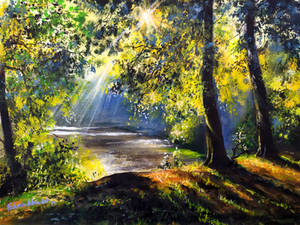 morning in the woods Acrylic Painting
