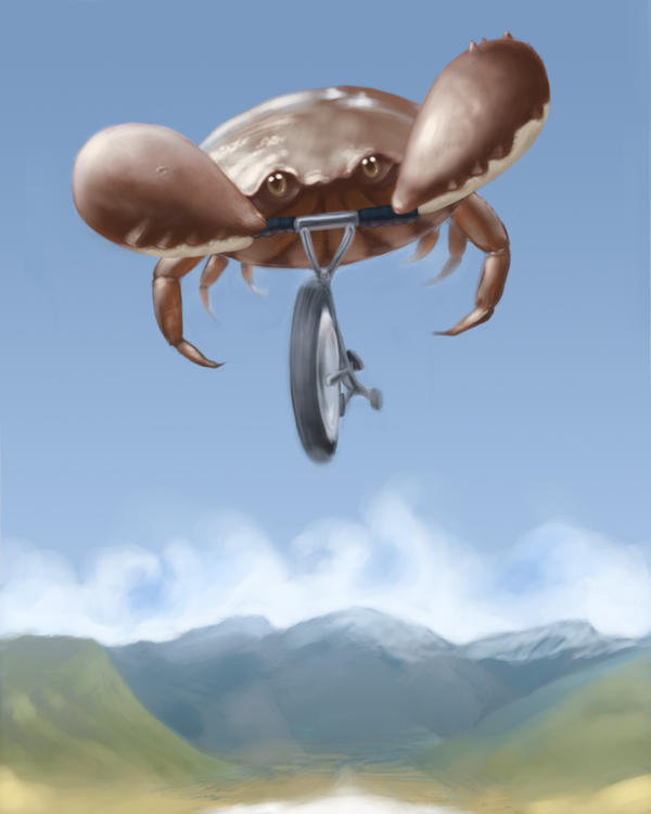 Crab on a tricycle by Malakuko