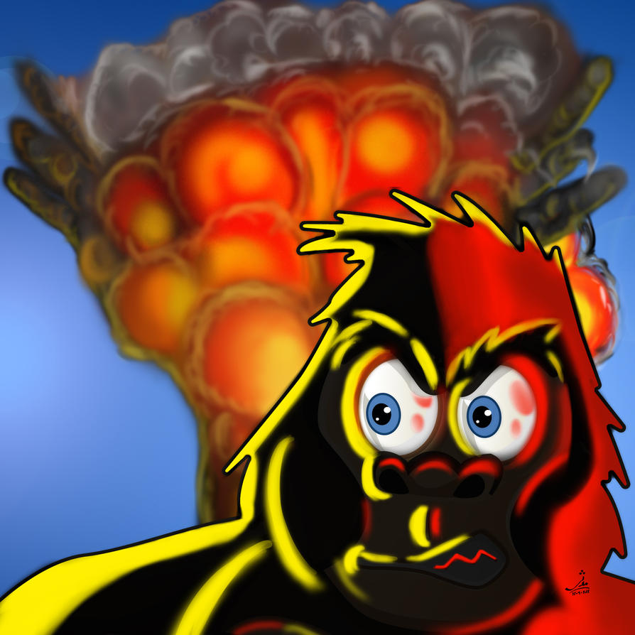 Angry Temple Gorilla Bombs Icon (Blown Up to A3) by kalabadi-hallaj