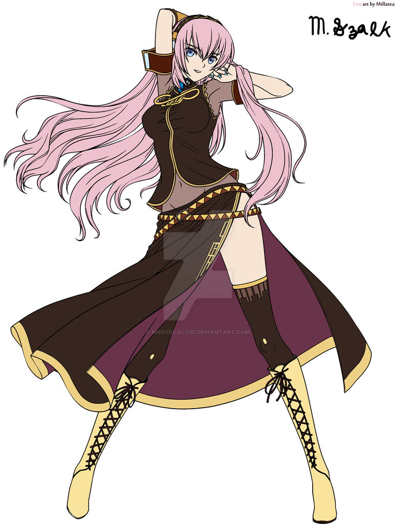 Megurine Luka Line Art coloring by MNSVocaloid