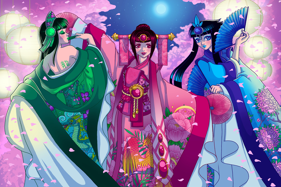 RGB Kimono's and Blossoms by DigiAvalon