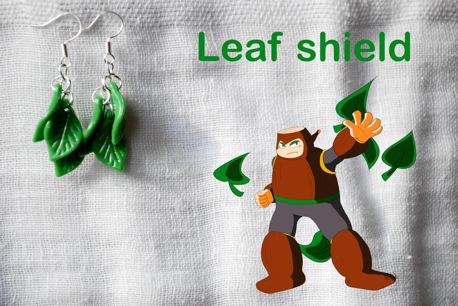 Leaf shield earrings by romanletters