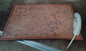 Leather map Napoleon battle of Friedland