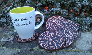 Leather coasters vegvisir viking
