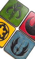 STAR WARS Leather coasters emblems bright colors