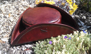 leather tricorn pirate hat handmade silver tracery