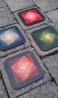 mosaic leather coasters sous verres cuir mosaique