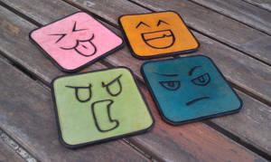 smiley leather coasters sous verres cuir emoticone