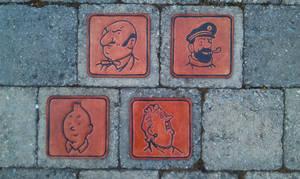 tintin leather coasters !