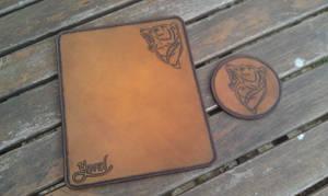 leather mousepad and coaster bear