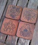 outer gods leather coasters cthulhu