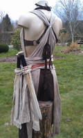 Amazon LARP outfit leather bra  back view