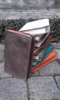 Couvre livre cuir - leather book cover by BalmoraLeathercraft