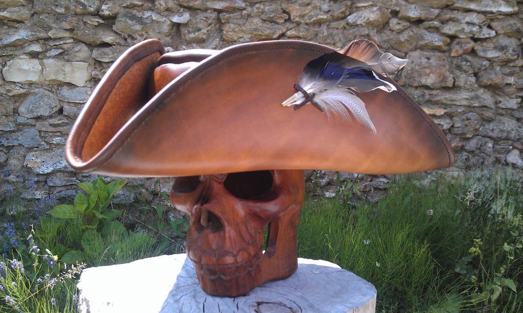 Brown pirate tricorn hat